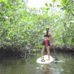 Yoga Paddle Boarding in Coral Gables, Miami.